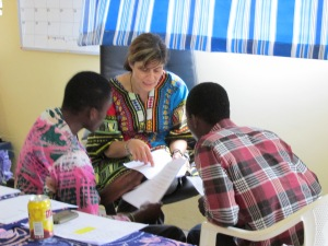 Kay, Emmanuel and Amos work together at a PD training day Sept 204